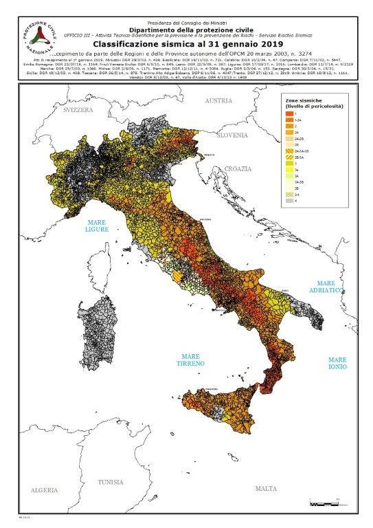 Classificazione Sismica Italia 2019